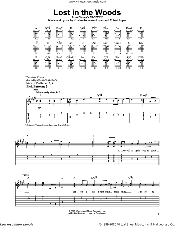 Lost In The Woods (from Disney's Frozen 2) sheet music for guitar solo (easy tablature) by Jonathan Groff, Kristen Anderson-Lopez and Robert Lopez, easy guitar (easy tablature)