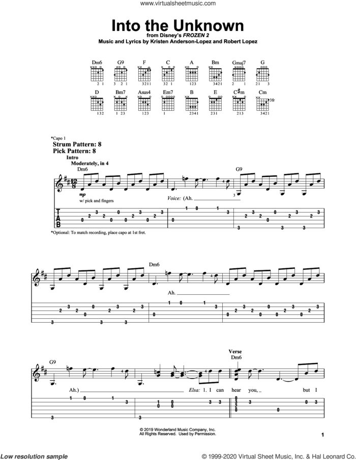 Into The Unknown (from Disney's Frozen 2) sheet music for guitar solo (easy tablature) by Idina Menzel and AURORA, Kristen Anderson-Lopez and Robert Lopez, easy guitar (easy tablature)