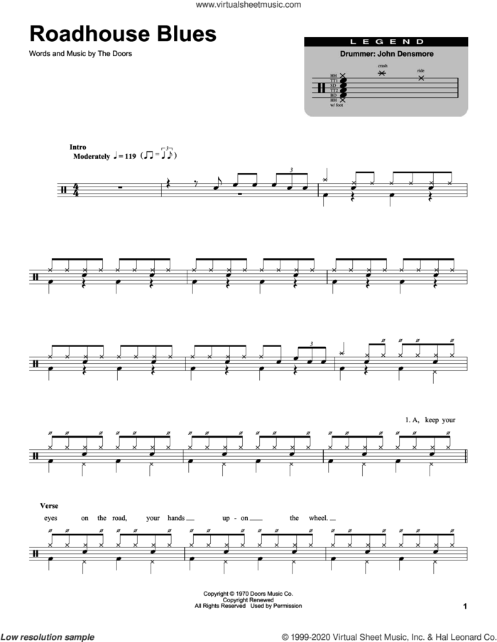 Roadhouse Blues sheet music for drums by The Doors, intermediate skill level