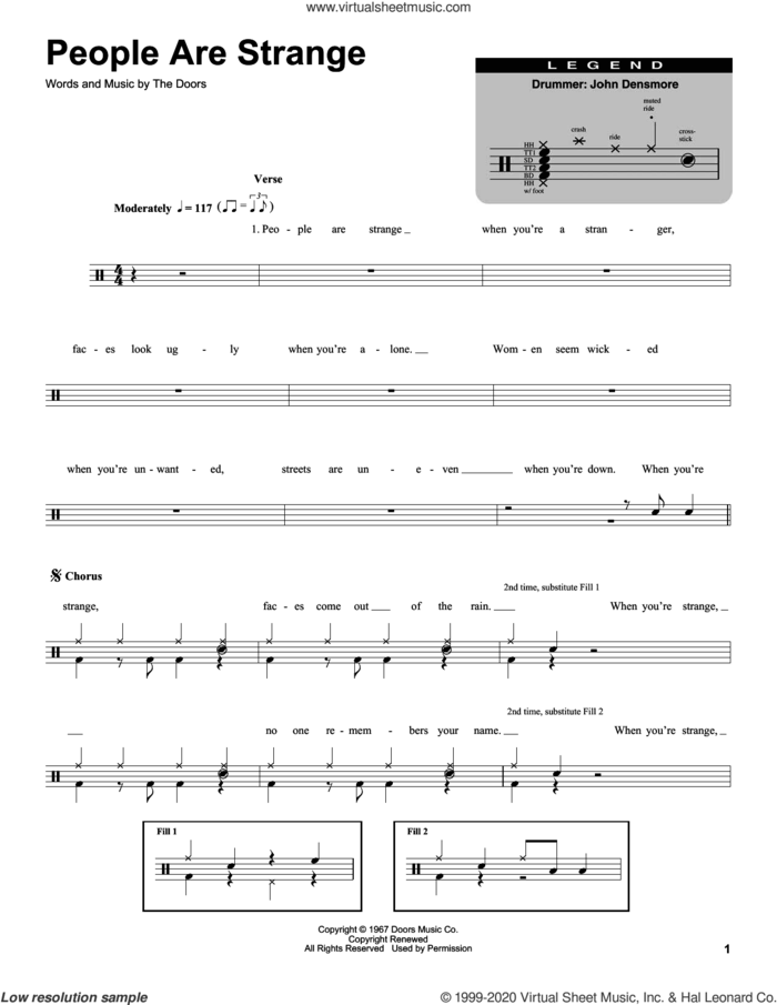 People Are Strange sheet music for drums by The Doors, intermediate skill level