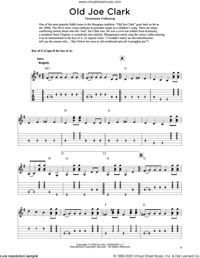 Old Joe Clark (arr. Fred Sokolow) sheet music for guitar solo  and Fred Sokolow, intermediate skill level