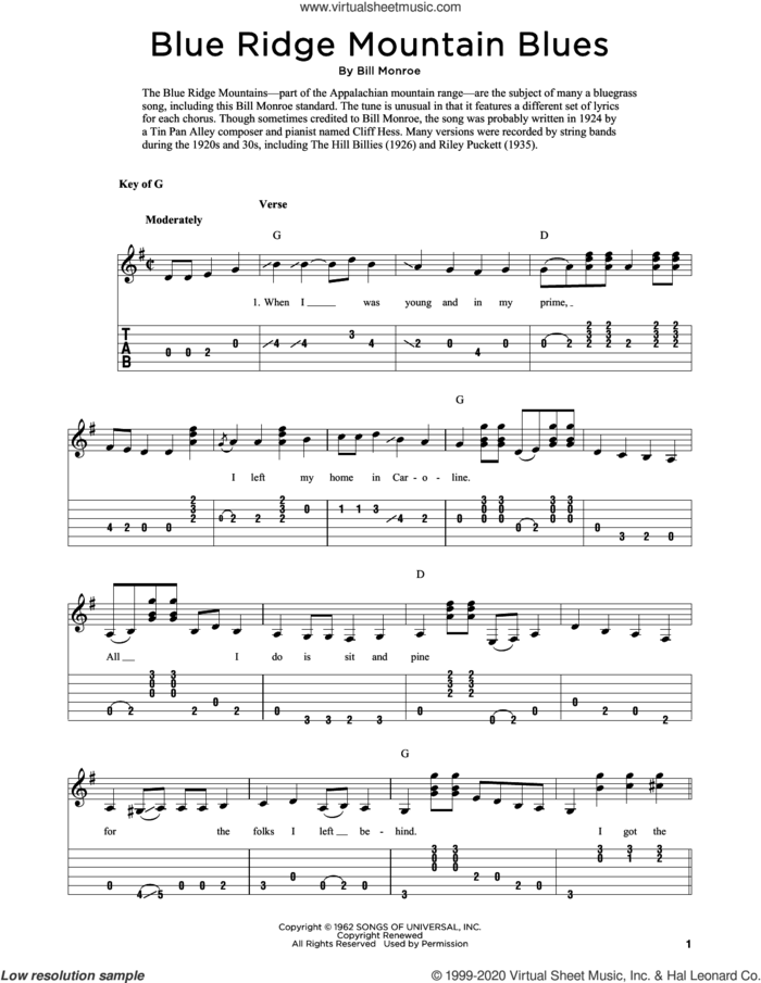 Blue Ridge Mountain Blues (arr. Fred Sokolow) sheet music for guitar solo by Bill Monroe and Fred Sokolow, intermediate skill level