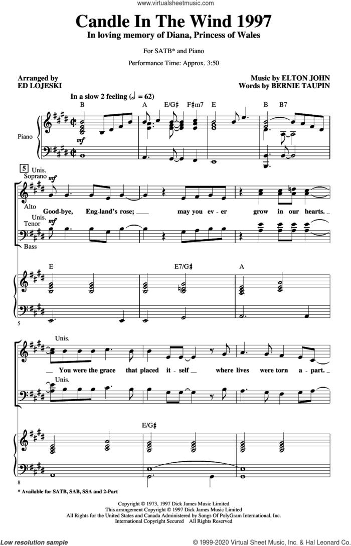 Candle In The Wind (arr. Ed Lojeski) sheet music for choir (SATB: soprano, alto, tenor, bass) by Elton John, Ed Lojeski and Bernie Taupin, intermediate skill level