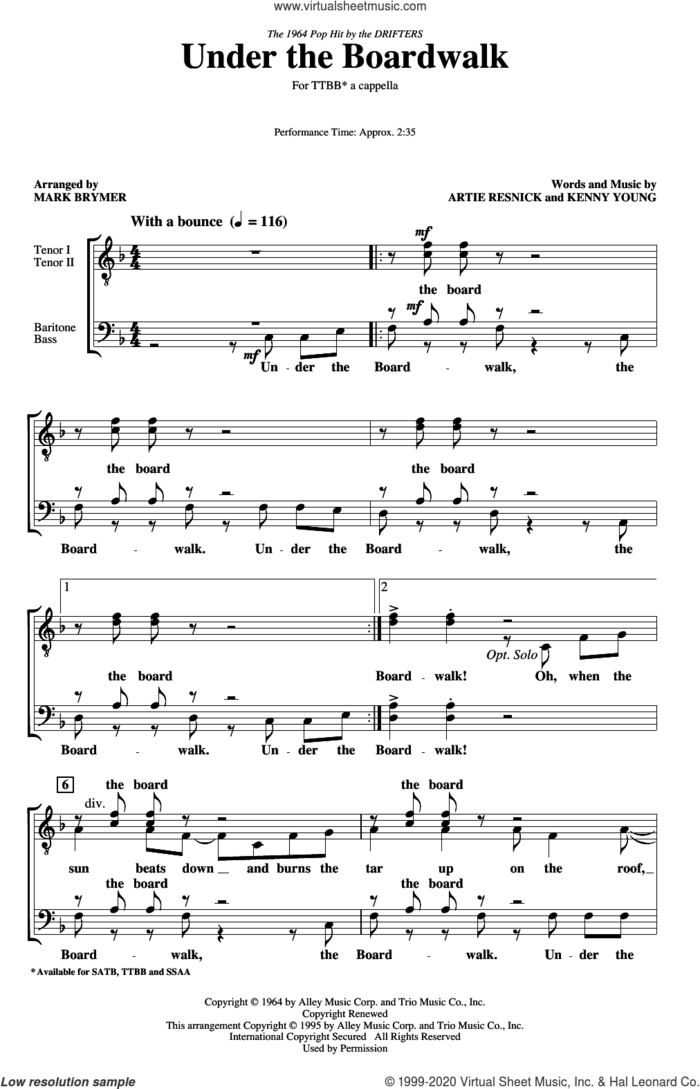 Under The Boardwalk (arr. Mark Brymer) sheet music for choir (TTBB: tenor, bass) by The Drifters, Mark Brymer, Artie Resnick and Kenny Young, intermediate skill level