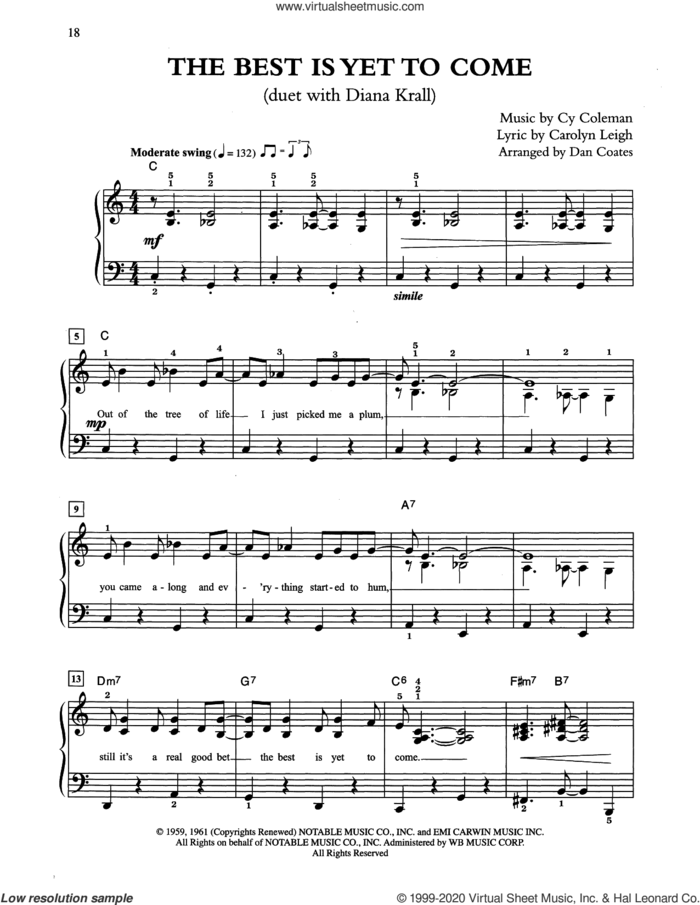 The Best Is Yet To Come (arr. Dan Coates) sheet music for piano solo by Tony Bennett & Diana Krall, Carolyn Leigh and Cy Coleman, easy skill level