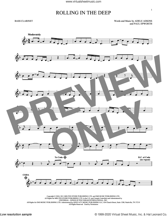 Rolling In The Deep sheet music for Bass Clarinet Solo (clarinetto basso) by Adele, Adele Adkins and Paul Epworth, intermediate skill level