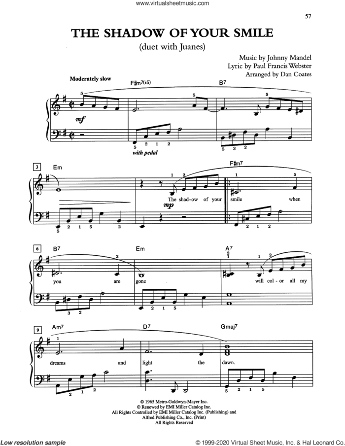 The Shadow Of Your Smile (arr. Dan Coates) sheet music for piano solo by Tony Bennett & Juanes, Johnny Mandel and Paul Francis Webster, easy skill level
