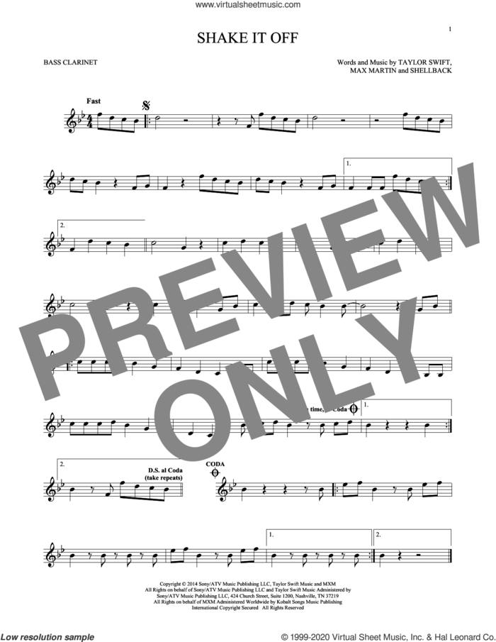 Shake It Off sheet music for Bass Clarinet Solo (clarinetto basso) by Taylor Swift, Johan Schuster, Max Martin and Shellback, intermediate skill level