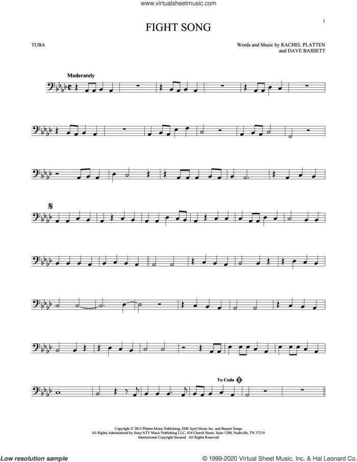 Fight Song sheet music for Tuba Solo (tuba) by Rachel Platten and Dave Bassett, intermediate skill level