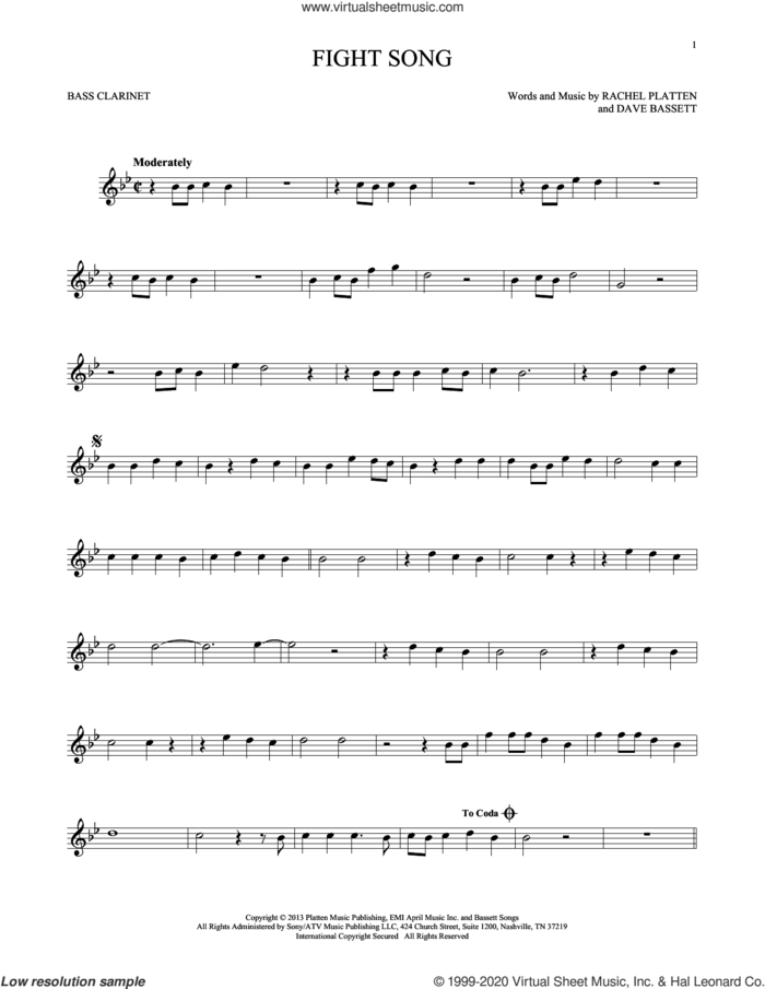 Fight Song sheet music for Bass Clarinet Solo (clarinetto basso) by Rachel Platten and Dave Bassett, intermediate skill level