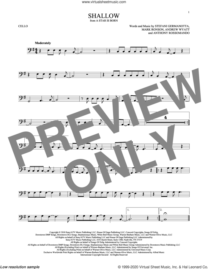 Shallow (from A Star Is Born) sheet music for cello solo by Lady Gaga, Andrew Wyatt, Anthony Rossomando and Mark Ronson, intermediate skill level