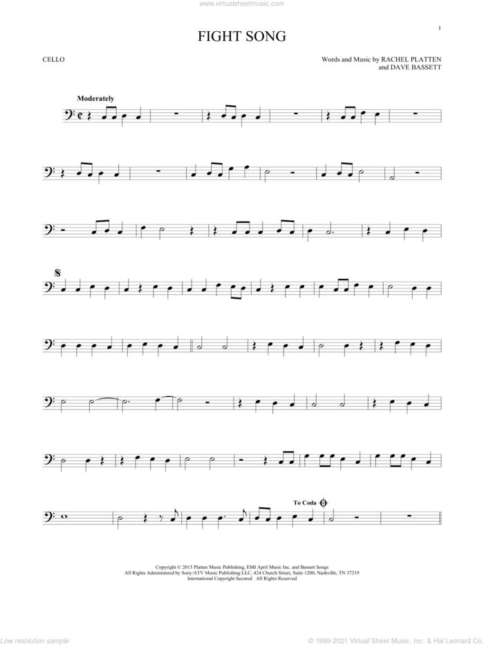 Fight Song sheet music for cello solo by Rachel Platten and Dave Bassett, intermediate skill level