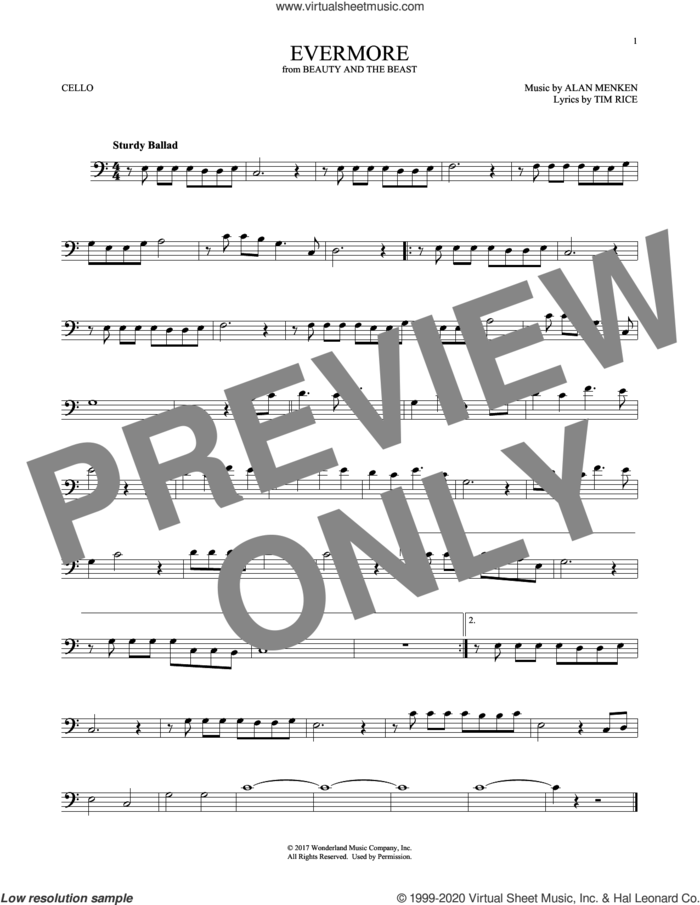 Evermore (from Beauty and The Beast) sheet music for cello solo by Alan Menken and Tim Rice, intermediate skill level