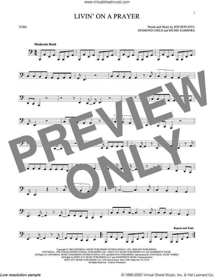 Livin' On A Prayer sheet music for Tuba Solo (tuba) by Bon Jovi, Desmond Child and Richie Sambora, intermediate skill level