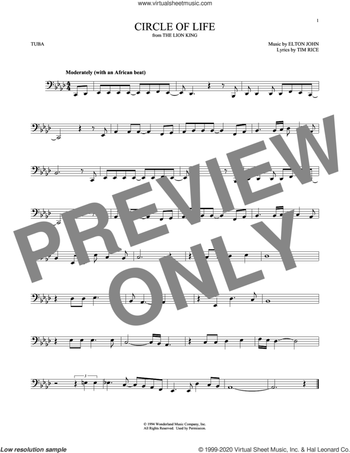 Circle Of Life (from The Lion King) sheet music for Tuba Solo (tuba) by Elton John and Tim Rice, intermediate skill level