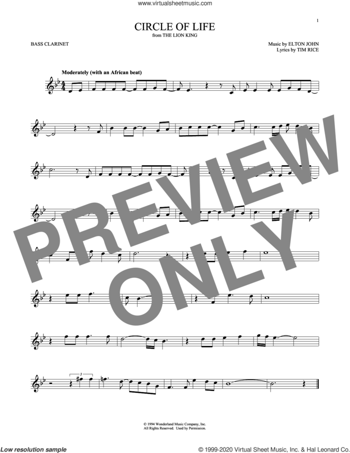 Circle Of Life (from The Lion King) sheet music for Bass Clarinet Solo (clarinetto basso) by Elton John and Tim Rice, intermediate skill level