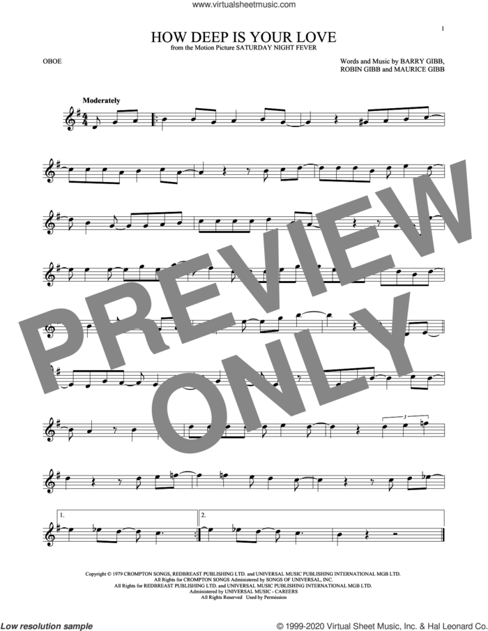How Deep Is Your Love sheet music for oboe solo by Bee Gees, Barry Gibb, Maurice Gibb and Robin Gibb, intermediate skill level