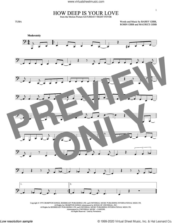How Deep Is Your Love sheet music for Tuba Solo (tuba) by Bee Gees, Barry Gibb, Maurice Gibb and Robin Gibb, intermediate skill level