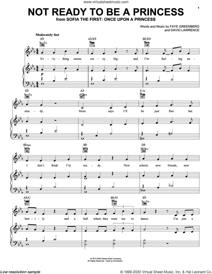 Not Ready To Be A Princess (from Disney's Sofia The First: Once Upon A Princess) sheet music for voice, piano or guitar by Faye Greenberg and David Lawrence, David Lawrence and Faye Greenberg, intermediate skill level