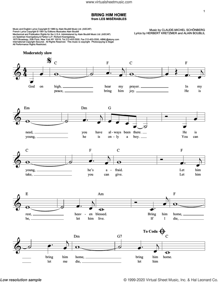 Bring Him Home (from Les Miserables) sheet music for voice and other instruments (fake book) by Alain Boublil, Boublil & Schonberg, Claude-Michel Schonberg and Herbert Kretzmer, intermediate skill level