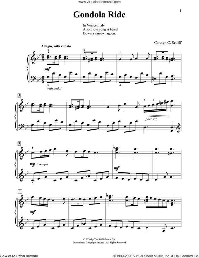 Gondola Ride sheet music for piano solo (elementary) by Carolyn C. Setliff, beginner piano (elementary)