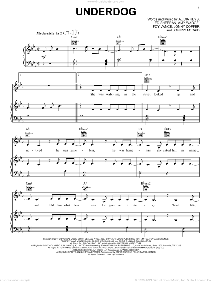 Underdog sheet music for voice, piano or guitar by Alicia Keys, Amy Wadge, Ed Sheeran, Foy Vance, Johnny McDaid and Jonny Coffer, intermediate skill level