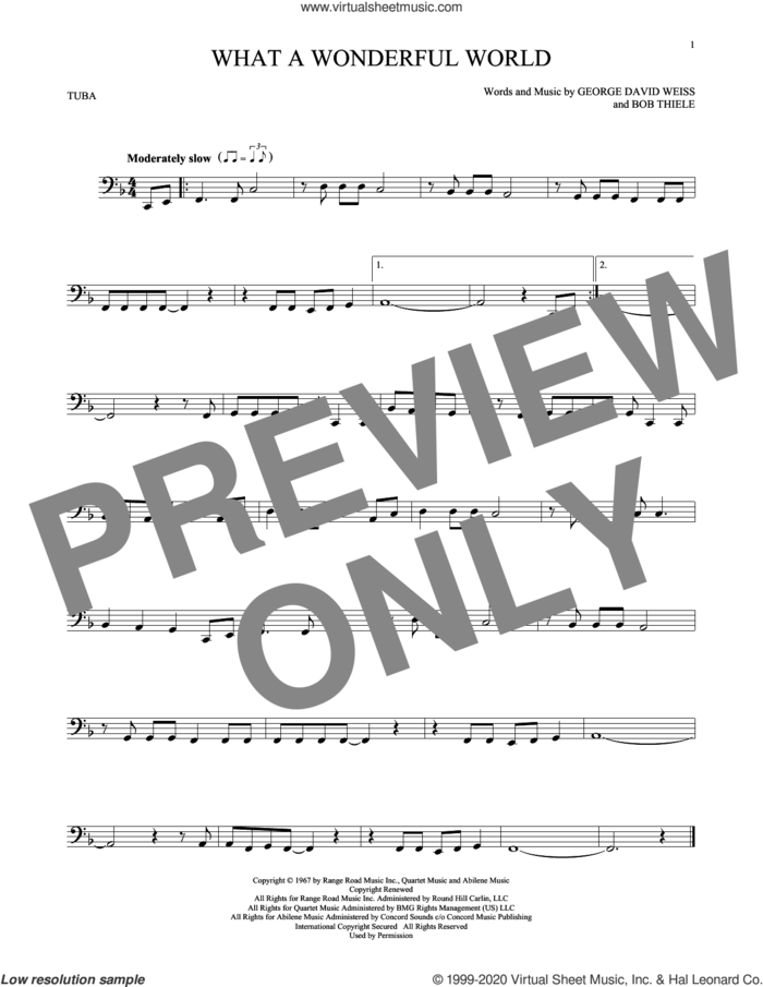 What A Wonderful World sheet music for Tuba Solo (tuba) by Louis Armstrong, Bob Thiele and George David Weiss, intermediate skill level