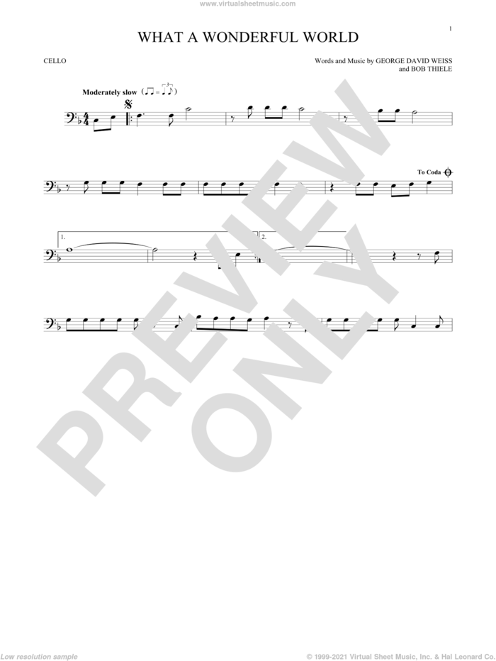 What A Wonderful World sheet music for cello solo by Louis Armstrong, Bob Thiele and George David Weiss, intermediate skill level
