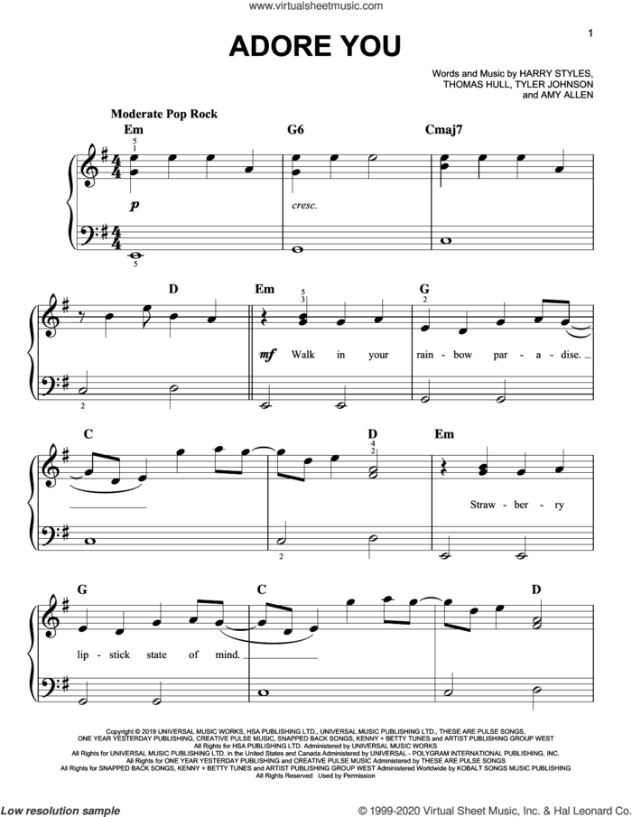 Adore You sheet music for piano solo by Harry Styles, Amy Allen, Tom Hull and Tyler Johnson, easy skill level