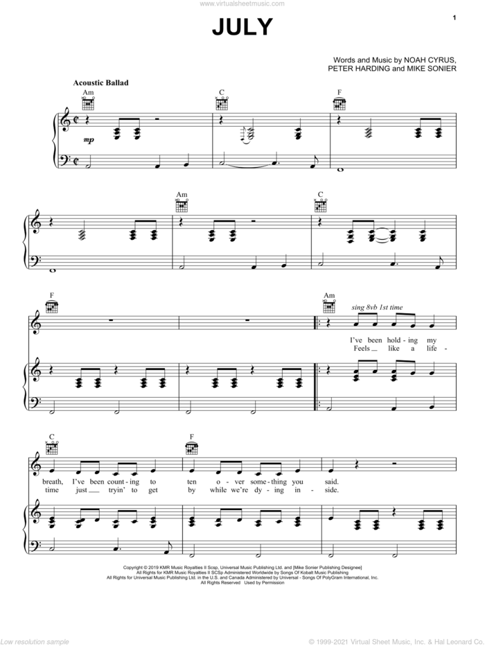 July sheet music for voice, piano or guitar by Noah Cyrus, Mike Sonier and Peter Harding, intermediate skill level