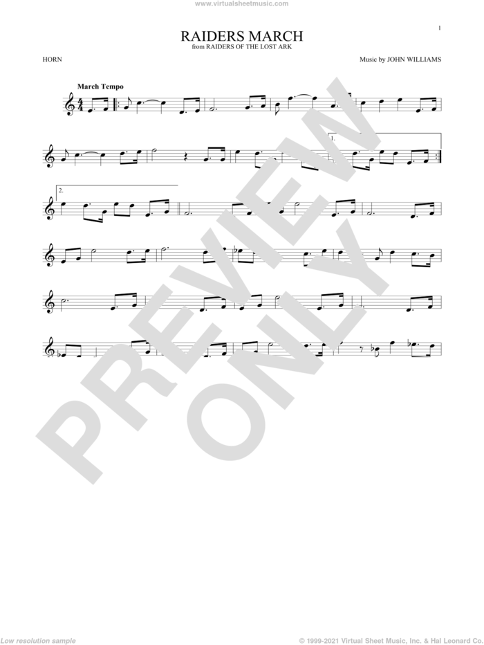 Raiders March (from Raiders Of The Lost Ark) sheet music for horn solo by John Williams, intermediate skill level