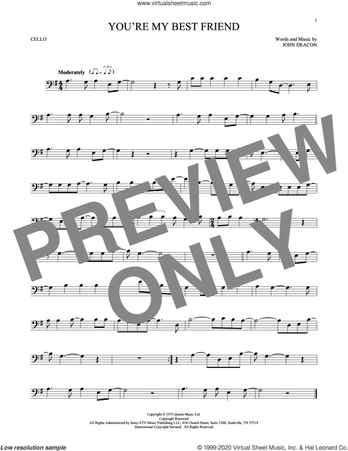 You're My Best Friend sheet music for cello solo by Queen and John Deacon, intermediate skill level