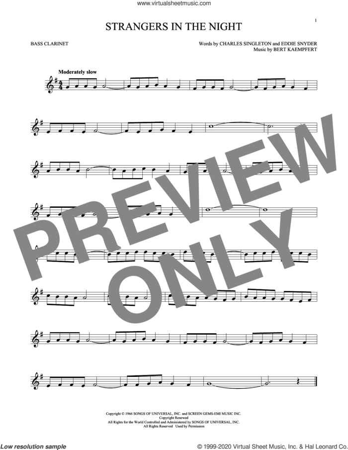 Strangers In The Night sheet music for Bass Clarinet Solo (clarinetto basso) by Frank Sinatra, Bert Kaempfert, Charles Singleton and Eddie Snyder, intermediate skill level