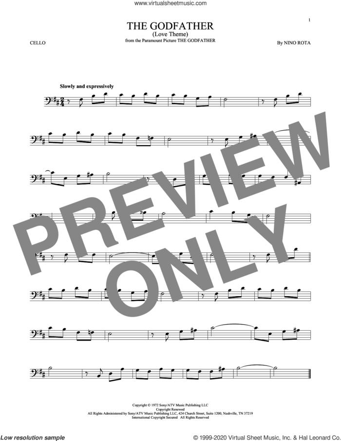 The Godfather (Love Theme) sheet music for cello solo by Nino Rota, intermediate skill level