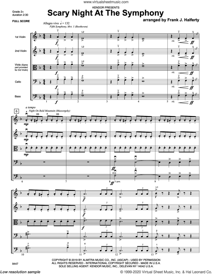 Scary Night At The Symphony (COMPLETE) sheet music for orchestra by Frank J. Halferty, classical score, intermediate skill level