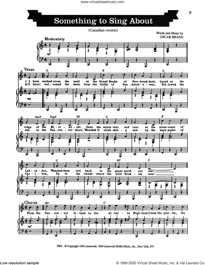 Something To Sing About sheet music for voice and piano by Oscar Brand, intermediate skill level