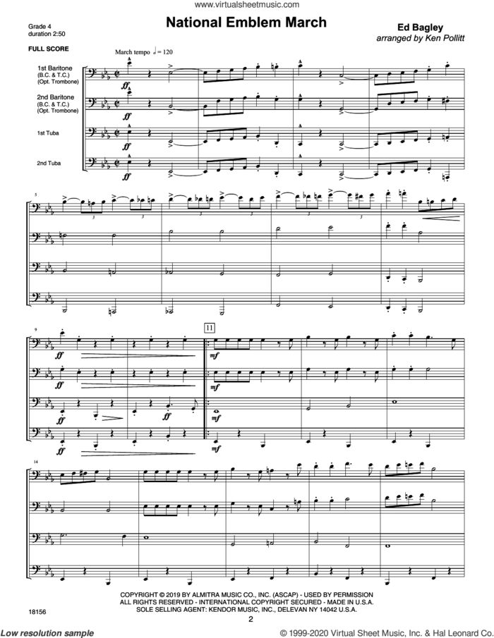 Three Ensembles For Low Brass (COMPLETE) sheet music for brass ensemble by Ken Pollit, classical score, intermediate skill level