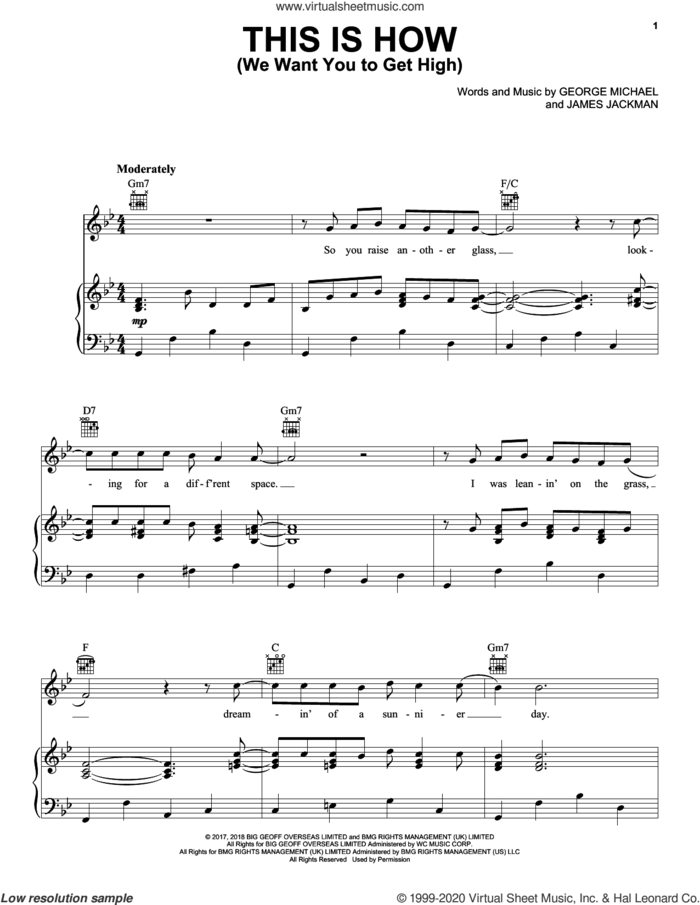 This Is How (We Want You To Get High) sheet music for voice, piano or guitar by George Michael and James Jackman, intermediate skill level