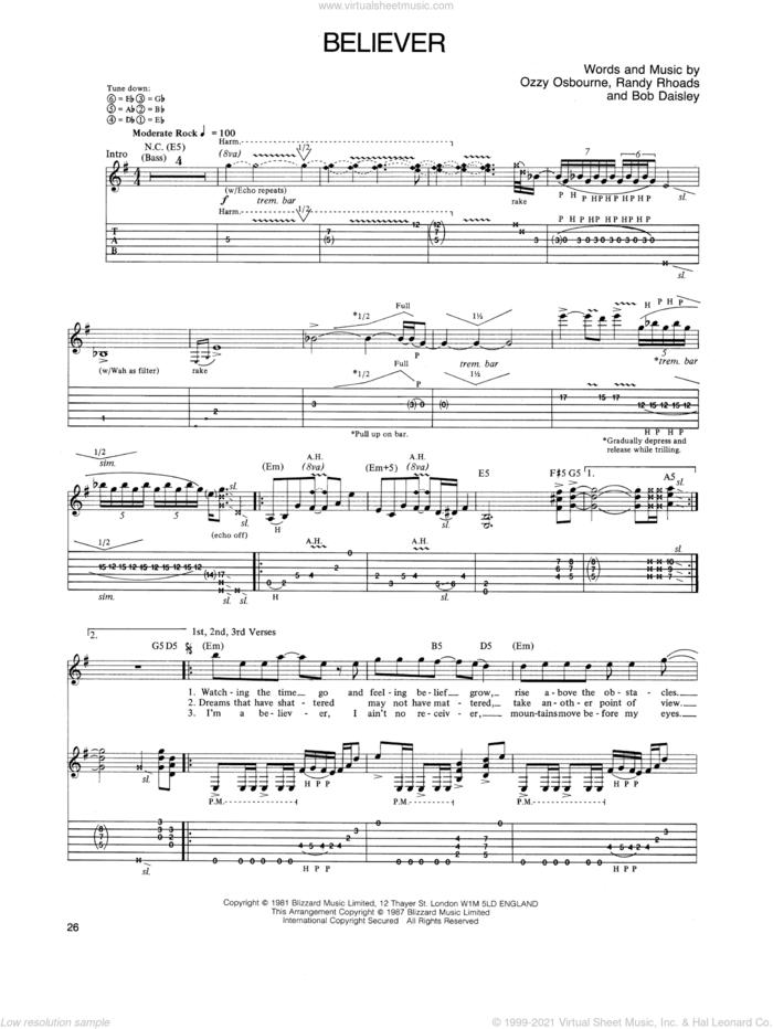 Believer sheet music for guitar (tablature) by Ozzy Osbourne, Bob Daisley and Randy Rhoads, intermediate skill level
