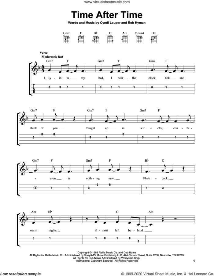 Time After Time sheet music for ukulele (easy tablature) (ukulele easy tab) by Cyndi Lauper and Rob Hyman, intermediate skill level
