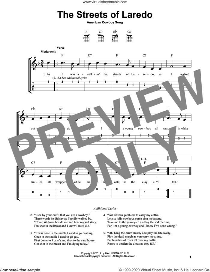 The Streets Of Laredo sheet music for ukulele (easy tablature) (ukulele easy tab), intermediate skill level