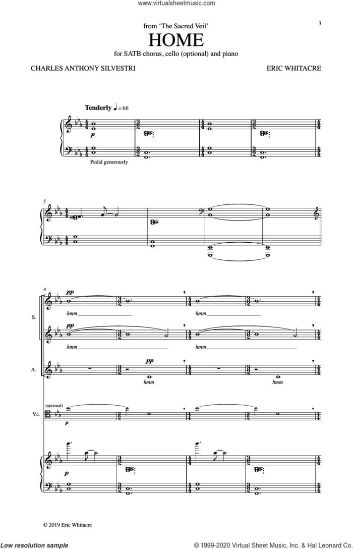 Home (from The Sacred Veil) sheet music for choir (SATB: soprano, alto, tenor, bass) by Eric Whitacre, Tony Silvestri, Charles Anthony Silvestri and Charles Anthony Silvestri and Eric Whitacre, intermediate skill level