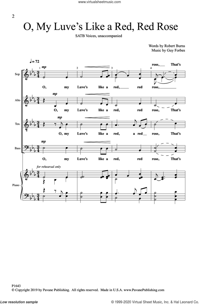 O, My Luve's Like a Red, Red Rose sheet music for choir (SATB: soprano, alto, tenor, bass) by Guy Forbes, Robert Burns and Robert Burns and Guy Forbes, intermediate skill level