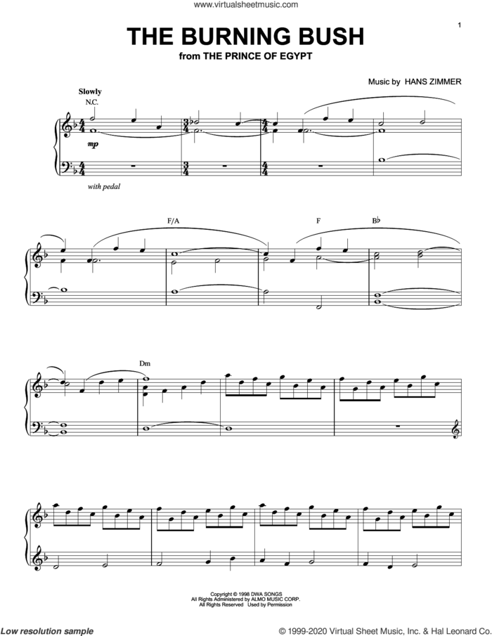 The Burning Bush (from The Prince of Egypt) sheet music for piano solo by Hans Zimmer, intermediate skill level