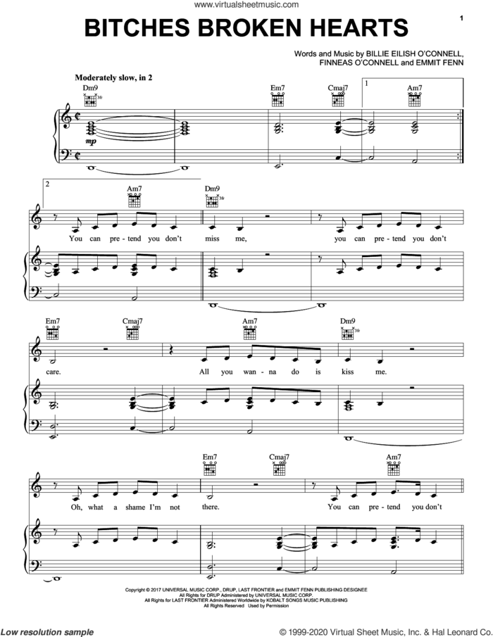 Bitches Broken Hearts sheet music for voice, piano or guitar by Billie Eilish and Emmit Fenn, intermediate skill level