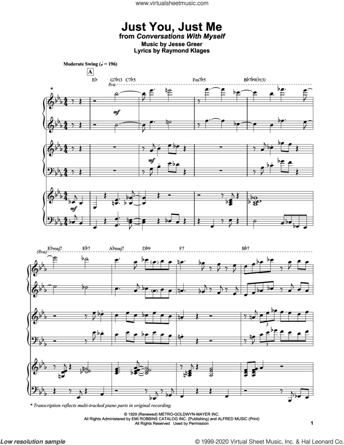 Just You, Just Me sheet music for piano solo by Bill Evans, Jesse Greer and Raymond Klages, intermediate skill level