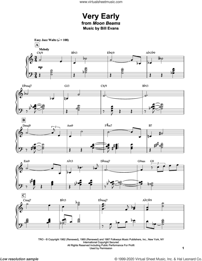 Very Early sheet music for piano solo by Bill Evans, intermediate skill level