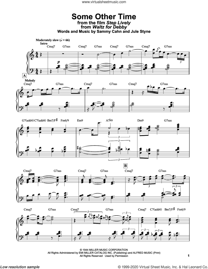 Some Other Time (from Step Lively) sheet music for piano solo by Bill Evans, Jule Styne and Sammy Cahn, intermediate skill level