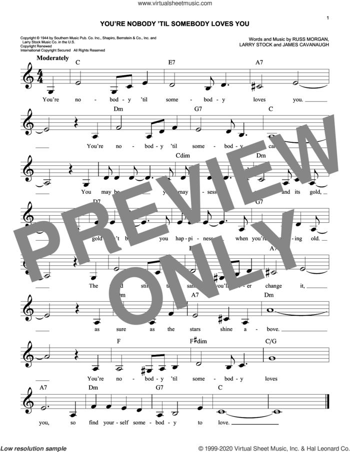 You're Nobody 'til Somebody Loves You sheet music for voice and other instruments (fake book) by Dean Martin, Frank Sinatra, James Cavanaugh, Larry Stock and Russ Morgan, intermediate skill level