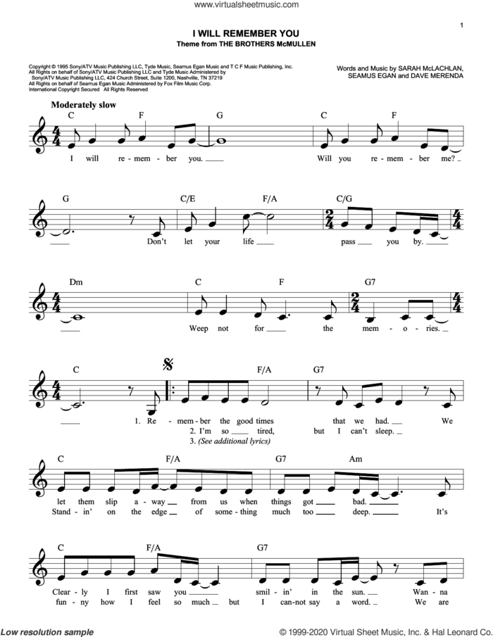 I Will Remember You sheet music for voice and other instruments (fake book) by Sarah McLachlan, Dave Merenda and Seamus Egan, intermediate skill level
